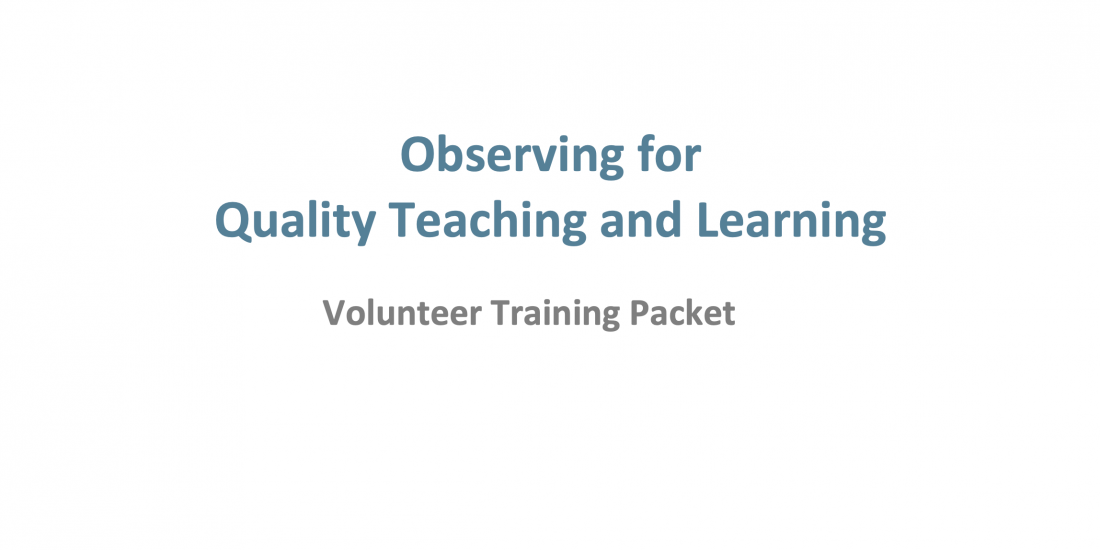 Observing for Quality Teaching and Learning