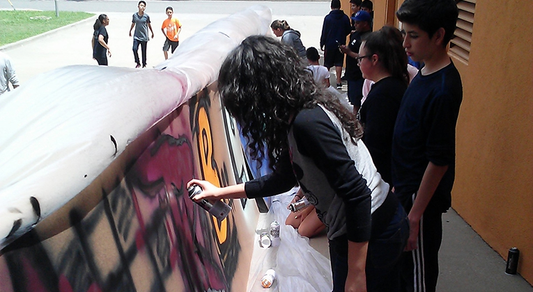 Latino Cultural Center Summer Camp Paints Free-Form Graffiti