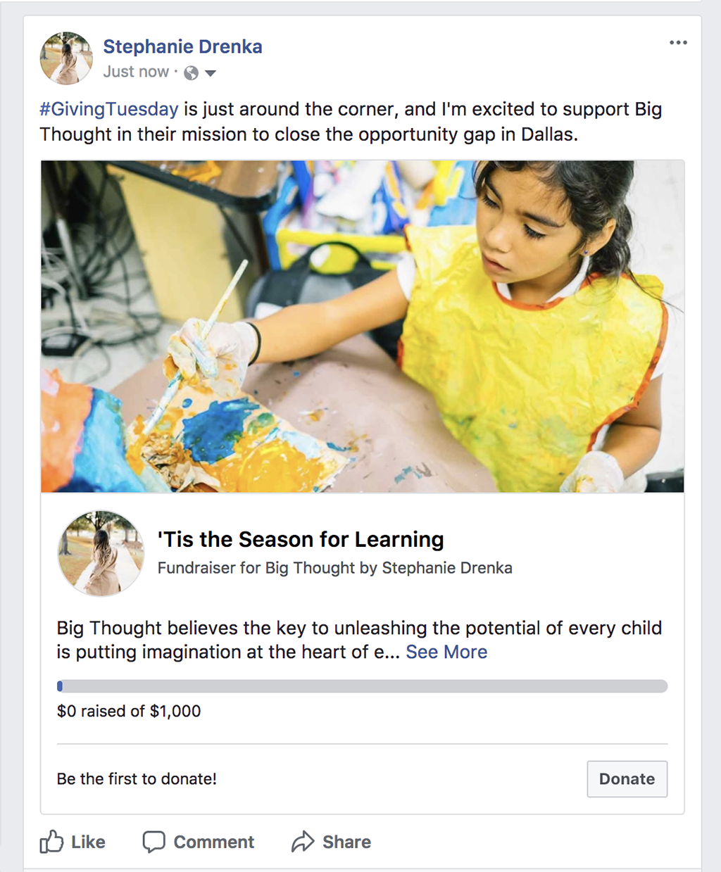 How to Create a Facebook Fundraiser for Big Thought