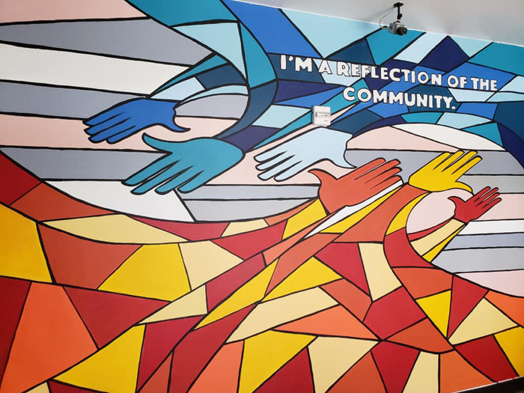 Mural painted by students at West Dallas Soars