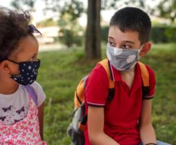 Kids in face masks